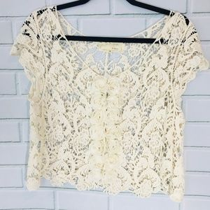 A'Reve Crocheted Lace Overshirt w Silk Roses SzS